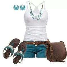 Texas Summer wear, must have Cute Summer Outfits, Summer Wear, Spring Summer Fashion, Casual Outfits, Summer Time, Casual Summer, Summer Fun, Summer Clothes, Blue Outfits