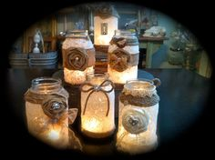 lace and burlap, twine around mason jars