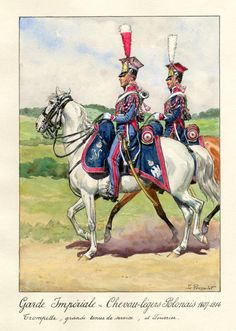 Chevau Legers (Polish) de la Garde Imperiale, trumpeter and farrier. Napoleon Josephine, French Pictures, French Army, Napoleonic Wars, Concept Art, Empire, Horses, History, Painting
