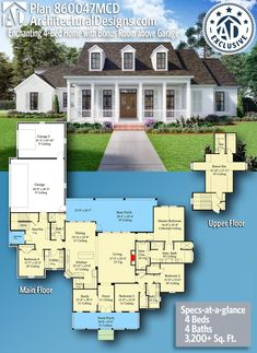 lOVE THIS INSIDE & OUT! Architectural Designs Exclusive Acadian Home Plan gives you 4 bedrooms, 4 baths and sq. Country Bedroom Design, French Country Bedrooms, The Plan, How To Plan, Acadian Homes, Room Above Garage, Next At Home, House Floor Plans, My Dream Home