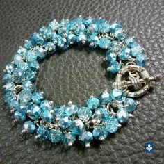 ♥ EASY SHIP TO USA  Elegant Half Metallic Blue Plated Silver Bracelet    eBay