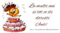 Felicitari de la multi ani - La multi ani si tot ce iti doresti Andi! Anastasia, Birthday Cake, Desserts, Google, Pictures, Tailgate Desserts, Deserts, Birthday Cakes, Postres