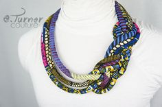 African Braided Fabric Necklace  Ankara Braided by ETurnerCouture