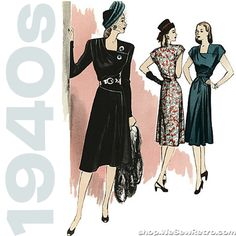Retro Sewing Butterick 5281 - vintage reproduction of 1946 dress pattern. pattern requires 3 yd of dress fabric and 2 yd lining for view B, as well as shoulder pads, zipper and 4 snaps. Retro Vintage Dresses, 1940s Dresses, Retro Dress, Vintage Outfits, Flapper Dresses, 50s Vintage, 1940s Fashion, Look Fashion, Vintage Fashion