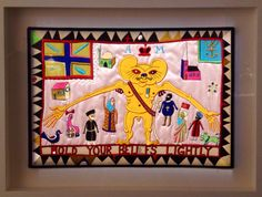 'Hold Your Beliefs Lightly' (2011) embroidery at Grayson Perry's 'My Pretty Little Art Career' exhibition at the MCA, Sydney.