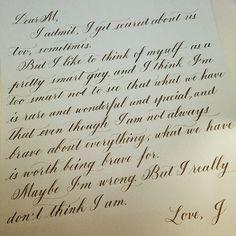 """A letter of my friend @jaemark to his beloved. Written while watching Her. #calligraphy #flourishforum"""