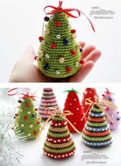 Christmas Crochet Tree Pattern The Best Ideas – christmas knitting ideas Christmas Tree Yarn, Crochet Christmas Decorations, Christmas Tree Pattern, Christmas Crochet Patterns, Crochet Decoration, Crochet Ornaments, Holiday Crochet, Crochet Toys Patterns, Christmas Knitting