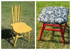 Broken wood chair turned into cute stool.  Repurpose recycle old broke chair.  Cut off back spindles, put cushion on wood chair & staple fabric over it