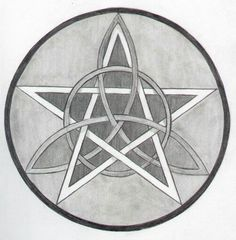 Pentacle with trinity knot tattoo