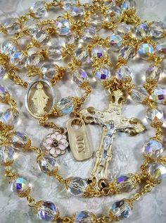 Czech Fire Polished Aurora Borealis Crystal    Two tone Pewter Rosary