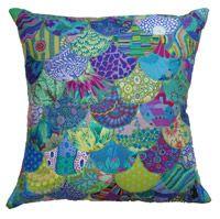 "Water Dragon Hide 22"" Cushion Kit using 2 Kaffe Fassett 5"" charm packs: blues/purples and green/aquas, with Sizzix Bigz clamshell die and VILENE IRON ON FLEECE!!"