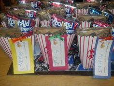 """End of the school year gifts. Tags say (Hope you have a """"kool"""" and """"Poppin"""" Summer! ) Just made it tonight with my little man! I got everything from the Dollar Store, Super easy :) ( I created the bags, but the little sayings for the tags I found online)"""
