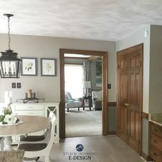 Best paint colours with dark wood trim, Sherwin Williams Balanced Beige and Warm Stone. Kylie M Interiors Edesign, online paint color consulting Stained Wood Trim, Dark Wood Trim, Natural Wood Trim, Gray Trim, Brown Trim, Interior House Colors, Interior Trim, Interior Ideas, Interior Office