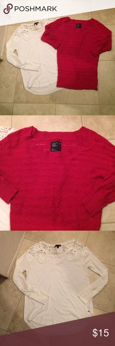 $10 aeo sweater and tunic lot nwot Both nwot! Super cute details on the back of the long white top! American Eagle Outfitters Tops Tunics