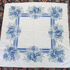 Vintage Tablecloth Blue and Green Print 1950s by LinensandThings, $24.00