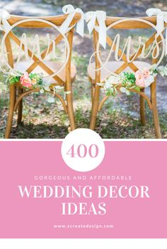 Over 400 Ideas for Your Wedding Day Decor - Custom Sweetheart Table Signs, Personalized Gifts, so much more!  | Hoop Style Mr and Mrs Chair Signs by www.ZCreateDesign.com or Shop ZCreateDesign on Etsy