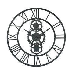119-TEMPS MODERNES metal clock in black D 100cm