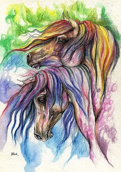 Arco iris dos caballos de color original pluma y acuarela lápices de pintura
