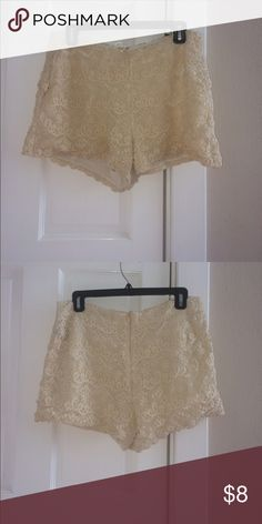 Cute Chic Cream Shorts Cute cream lace shorts for the beach or a sexy Saturday. Fits loose so cute for day or night Ark & Co Shorts
