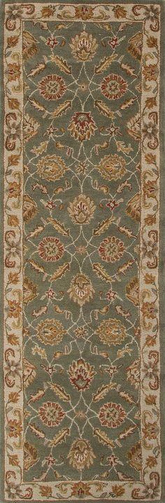 Jaipur Rugs RUG103031 Hand-Tufted Oriental Pattern Wool Green/Ivory Area Rug ( 2.6x8 )