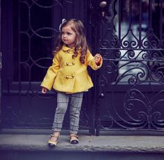Does this come in adult sizes? Our standout swing coat is perfect for sweet fall adventures. Posh layer includes metallic gold double buttons with tab design, Peter Pan collar and back pleat. Baby Outfits, Outfits Niños, Little Girl Outfits, Little Girl Fashion, Toddler Outfits, Toddler Girl Style, Toddler Fashion, Kids Fashion, Little Fashionista