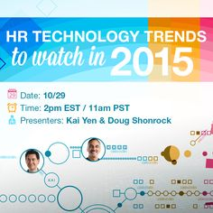Free webinar tomorrow (10/29) to discuss #technologytrends for HR. Click the image to register!