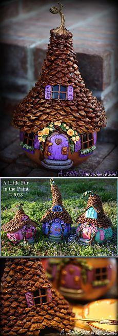 hada casas de calabaza, arcilla y conos de polímero increíble