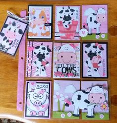 : Pink moos make my heart happy! Project Life Scrapbook, Project Life Cards, Scrapbook Journal, Atc Cards, Bird Cards, Journal Cards, Scrapbook Paper Flowers, Scrapbook Paper Crafts, Pocket Pal