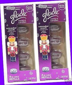8 REFILLS Glade NUTCRACKER CRUNCH Scented Oil Candles Candle (2 PACKS)