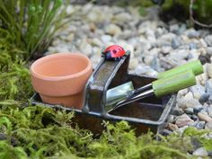 Fairy Garden Accessories Trug metal basket with tools lady bug and clay pot miniature for miniature garden or terrarium on Etsy, $7.95