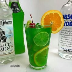 Sex in the Jungle 1 1/2 oz Vodka 1 oz Rum 1 oz Midori 1 oz Blue Caraco 1 oz Lime Juice 3 oz Pineapple Juice 3 oz Orange juice