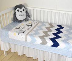 Chevron Crib Bedding, Penguin Baby Quilt, Gray Navy Blue White Toddler Blanket, Gift for New Baby