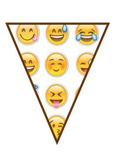 Letras de BIENVENIDOS motivo Emojis*Cada letra en tamao 8x11 (letter)*Dos banderines