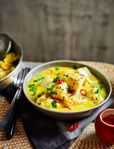 Coconut fish curry, a simple warming and spiced curry for four.