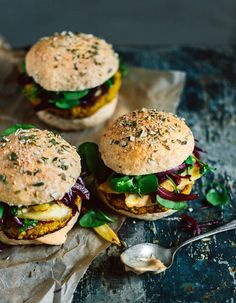 Vegan pumpkin-chickpea burger with parsnips from our cookbook.