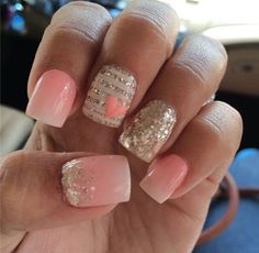 Feeling like you want to wear pink instead of the cliche red well here's a nail design that will go perfect with that outfit girl!