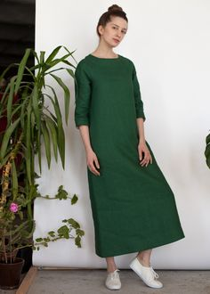 Зеленое льняное платье макси
