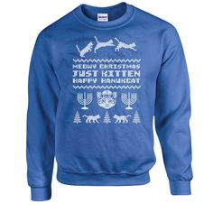 Ugly Holiday Sweater Happy Hanukkah Sweater Holiday Sweatshirt Cat Lover Gift Holiday Presents Jewish Clothing Holiday Top Cat Hoodie DN-263