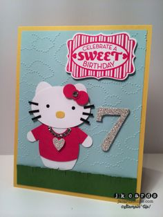Stampin' Up!, Hello Kitty Sarah B'day, Cycle Celebration, Extra Large Oval Punch, Butterfly Punch, Itty Bitty Shapes Punch Pack, Word Window Punch, Small Heart Punch, Owl Builder Punch, Cloudy Day Embossing Folder, Fringe Scissors, Basic Jewels Rhinestones, Silver Glimmer Paper, Typeset Alphabet Bigz Dies