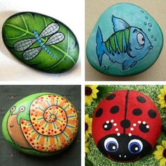 painted pebbles and river rocks