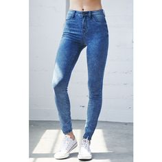 Bullhead Denim Co. American Indigo High Rise Jeggings ($50) ❤ liked on Polyvore featuring pants, leggings, blue pants, high-waisted pants, high rise leggings, high waisted jeggings and jeggings leggings
