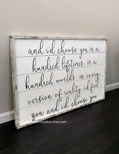 This And I'd choose you wood sign- And I'd choose you in a hundred lifetimes quote sign- Farmhouse sign- Wedding Gift- Shiplap wood sign is just one of the custom, handmade pieces you'll find in our home décor shops. Farmhouse Signs, Farmhouse Decor, Farmhouse Ideas, Industrial Farmhouse, Rustic Decor, Farmhouse Style, Shiplap Wood, White Shiplap, Wood Paneling