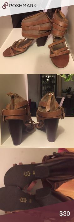 Matisse 'Seattle' leather sandals Matisse 'Seattle' brown genuine leather strappy heel sandals. Like new condition. Just a few scuffs to leather. Nothing that can't be polished out! Really cool! matisse Shoes Sandals