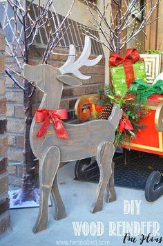 Hand Carved Wood Reindeer Silhouette