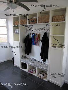mud room idea - Ikea Billy bookshelves..Oh, YES!!