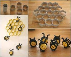 Cute beehive F Wonderful DIY Cute Bee Hive Decoration From Paper Rolls Kids Crafts, Bee Crafts, Toilet Paper Roll Crafts, Paper Crafts, Diy Paper, Tissue Paper, Decoration Creche, Bee Decorations, Diy Wanddekorationen