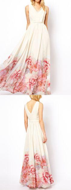 $29.99  White V-neck Floral Maxi Dress Prom Dress Eveing Dress