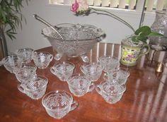 RARE EAPG Darling Vintage Grape & Vine vintage Punch Bowl Set. FENTON?