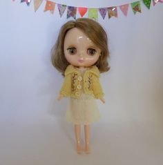 Hand Made Middie Blythe Doll 2ply wool Dress and Lemon Yellow Embroidered Cardigan