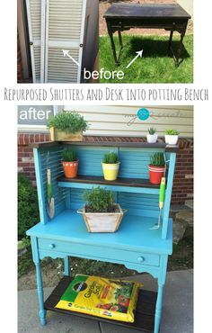 How to make a potting bench out of an old desk and shutters. Fun, easy project. Great for potting or outdoor entertaining as a drink station.